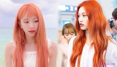 Không thích quá đậm bạn có thể thử tone nhạt hơn với màu tóc cam san hô cá tính.