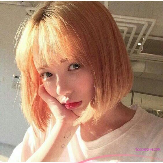 nhuộm tóc màu cam ánh vàng