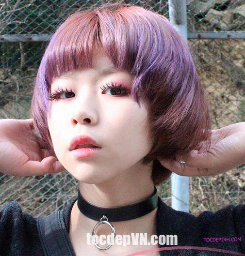 Tóc đẹp 24 giờ , tocdep24h.com Kiểu tóc màu Tím Khói