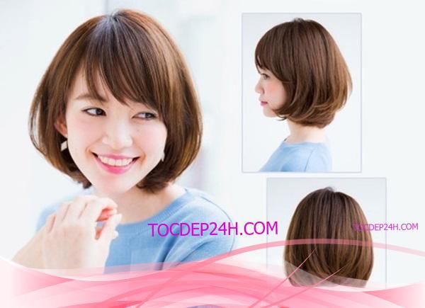tóc bob ngang vai mặt dài